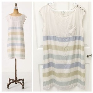 Odille short dress Striped Pastel Silk Anthropologie on Tradesy