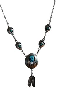 Other VINTAGE NATIVE AMERICAN TURQUOISE NECKLACE STERLING SILVER BEAR PAW