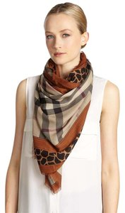 Burberry Animal Print Haymarket Check Modal and Cashmere Scarf - Brown Size L