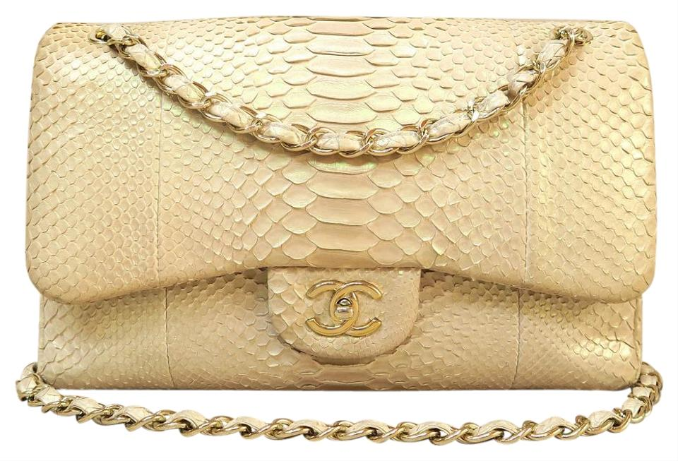 96c4a34f1479 Chanel Double Flap Limited Classic Python Jumbo Double Flap(Cf ...