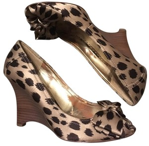 Guess By Marciano Satin Peep Toe Leopard Wedges