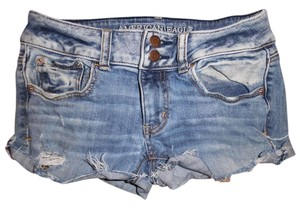 American Eagle Outfitters Daisy Dukes Rolled Raw Hem Ultra Low-rise Stretchy Cut Off Shorts Blue