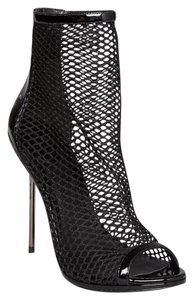 Brian Atwood Mesh Silver Patent Leather Black Boots