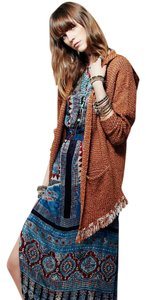 Free People Pouch Fringe Hooded Cardigan