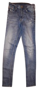 H&M High Waist Stretchy Skinny Jeans-Distressed