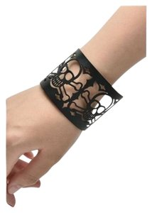 Gothic Skull Large Goth Cut Out Black Skull Bangle Bracelet