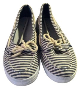 Twisted Shoes Navy Blue / White Striped Athletic