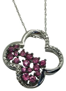 JWBR JWBR 10 K Gold Necklace/Pendant With Pink Sapphires and Diamonds