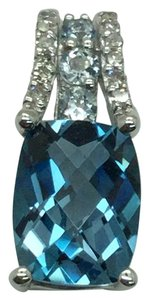 JWBR JWBR 10 K White Gold Pendant With Blue Topaz and Diamonds