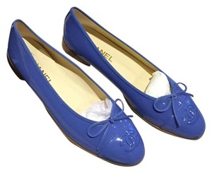 Chanel Patent Leather Blue Flats