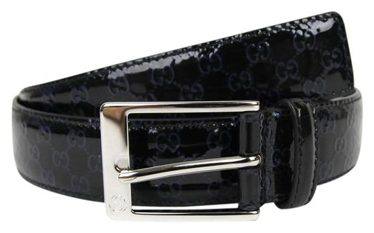 Gucci Lux Guccissima Patent Leather Belt w/Blue GG 90/36 345658 8490