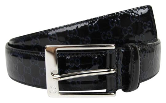 Preload https://item3.tradesy.com/images/gucci-black-lux-guccissima-patent-leather-wblue-gg-9538-345658-8490-belt-19813032-0-1.jpg?width=440&height=440