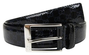 Gucci Lux Guccissima Patent Leather Belt w/Blue GG 100/40 345658 8490