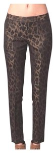 Elie Tahari Leopard Silk Ankle Metallic Jacquard Skinny Pants Brown