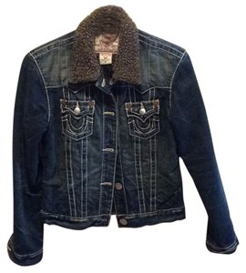 True Religion Lightly distressed denim Womens Jean Jacket