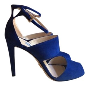 Prada Suede Peep Toe Strappy Ankle Strap Royal Blue (