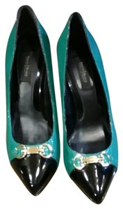 White House | Black Market Snakeskin Black & Green Pumps