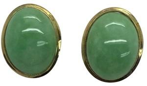 Other 14 K Yellow Gold Clip On Earrings With Jade Stone