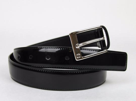 Gucci Black Patent Leather Square Buckle Belt 105/42 345658 DKE0N 1000