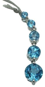 Signed P White Gold Pendant With Blue Topaz Stones
