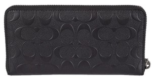 Coach Coach Men's Black F75372 Signature Embossed Zip Around Wallet