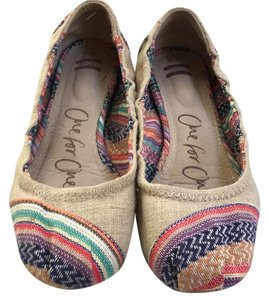 TOMS natural with colored heel and toe Flats