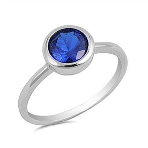 9.2.5 cute blue sapphire silver ring size 7
