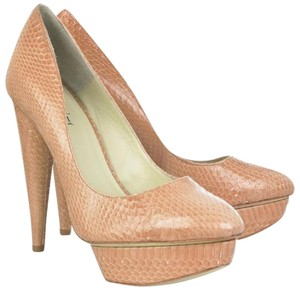 Elizabeth and James Snakeskin Nude Platforms