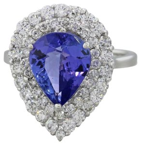 14k White Gold 2ctw Chunky Tanzanite 1ctw Diamond Cluster Ring
