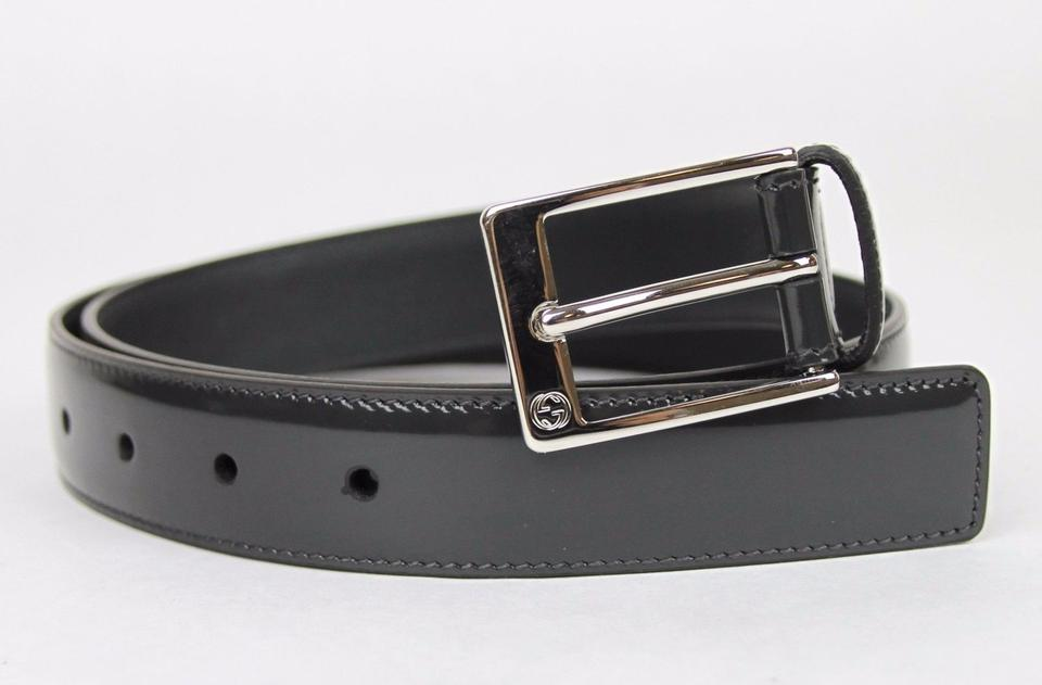 3304dfaad4f Gucci Dark Gray Patent Leather with Square Buckle 80 32 345658 Dke0n ...