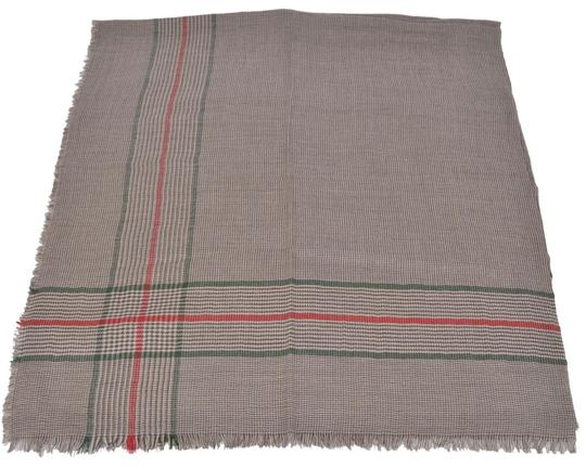Gucci Gucci 388168 Cotton Wool Silk Red Green Stripe Large Scarf 53