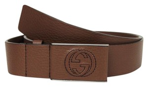 Gucci New Gucci Brown Leather Belt Square GG Buckle 105/42 368188 2138