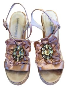 Vera Wang Lavender Label Satin Gemstone Blush Wedges