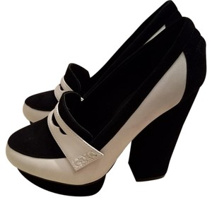 Shellys London Penny Loafer Pumps Black and White Platforms