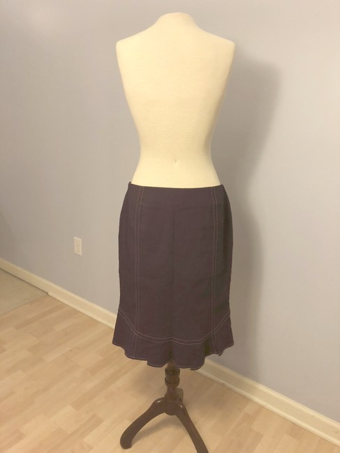 Elevenses Fitted Ruffled Plum Colored Stitched Plum Skirt Purple