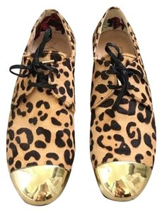 Ted Baker Dyed Bovine Hair Gold Metal Tips Print Oxford Black & brown leopard Flats
