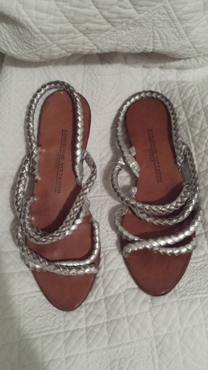 Adrienne Vittadini Leather Flat Silver Sandals