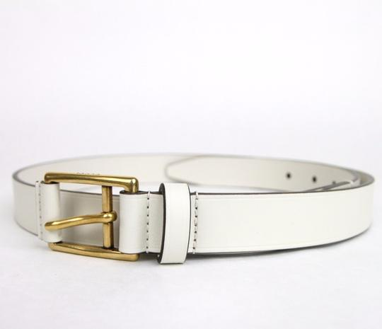 Gucci White Leather Belt Gold Buckle Feather Detail 100/40 375182 9022