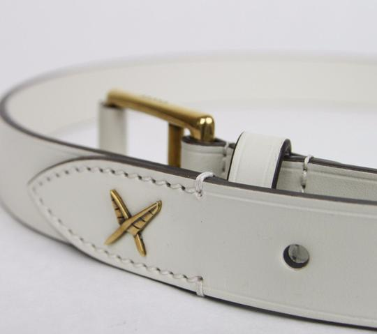 Gucci White Leather Belt Gold Buckle Feather Detail 105/42 375182 9022