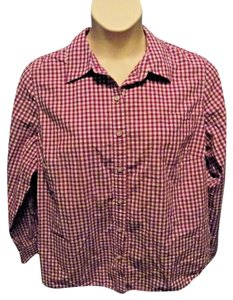 Izod Cotton Casual Checkered Plus Size Button Down Shirt Purple and White