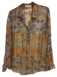 Johnny Was Button Down Silk Fall Colors Button Down Shirt Multi