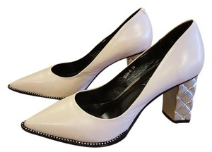 Jusen Laura Leather Silver Chanel Gucci Dolce Gabbana Pale pink Pumps