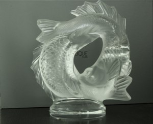 Signed Lalique France Crystal Double Fish Sculpture