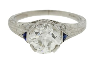 Handmade Art Deco Platinum Filigree 1.69ctw Diamond Sapphire Engagement Ring