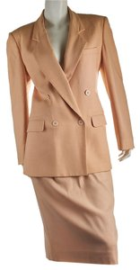 Dior Christian Dior Peach Polyester Skirt Suit, Size 10 (31240)