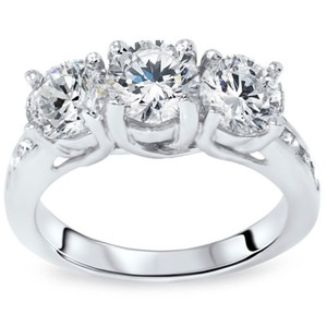 2.00ct 3 Stone Diamond Round Engagement Ring Channel Set Diamond Accents 14k White Gold