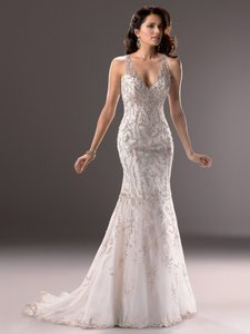 Maggie Sottero Ivory Satin with Silver Embroidery and Illusion Tulle Blakely Vintage Wedding Dress Size 12 (L)