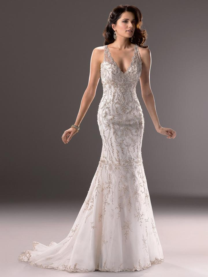Maggie Sottero Ivory Satin with Silver Embroidery and Illusion Tulle ...