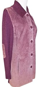 Terry Lewis Sweater Suede Knit Light Purple Mauve Jacket