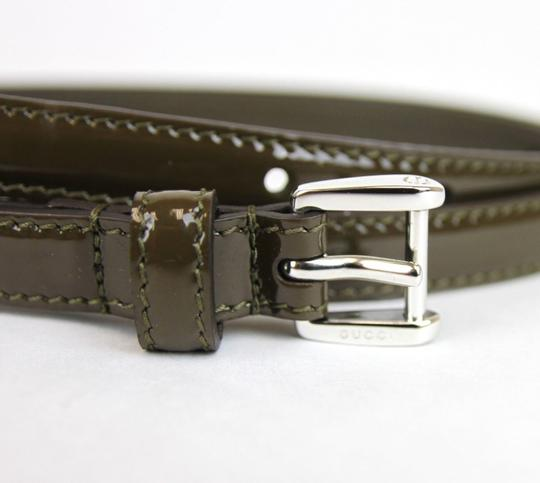Gucci Gucci Slim Patent Leather Belt Silver Buckle Green 80/32 331689 2941